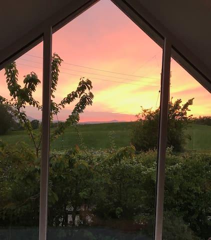 Tonteg, a farm stay with stunning views.