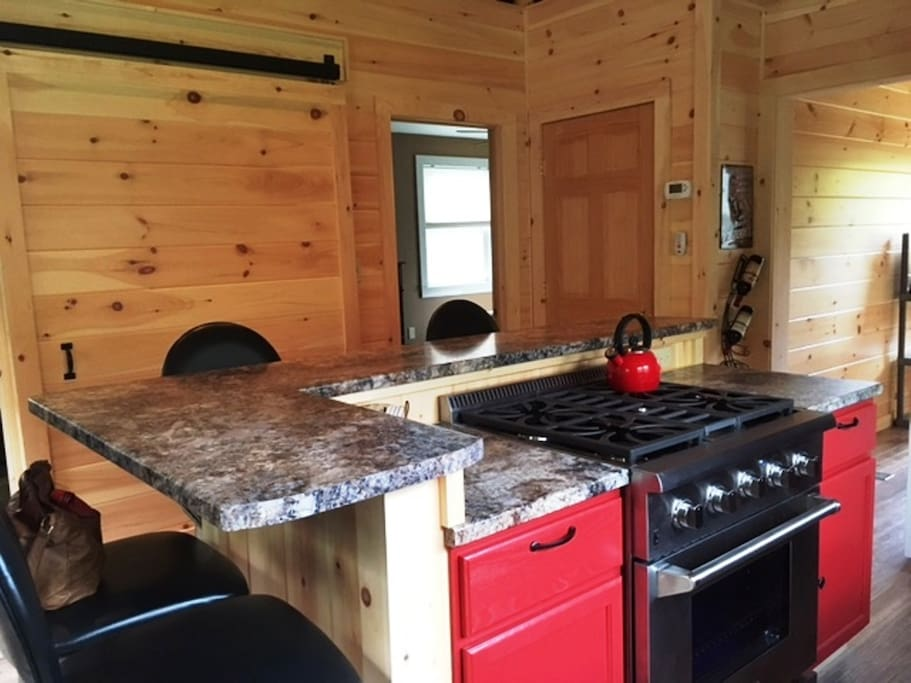 Large kitchen island with gas stove