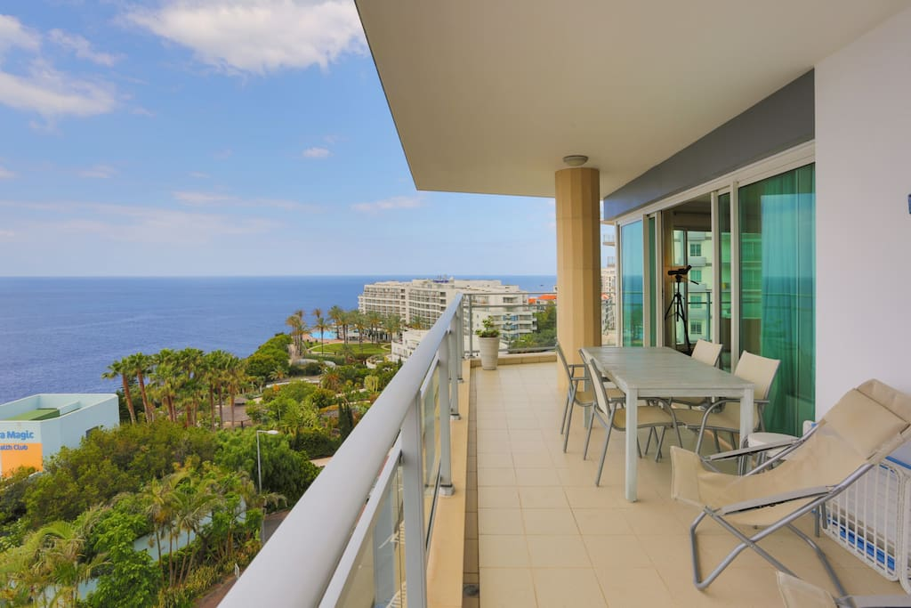 The balcony and the view of the sea. This is our favourite place during the day.