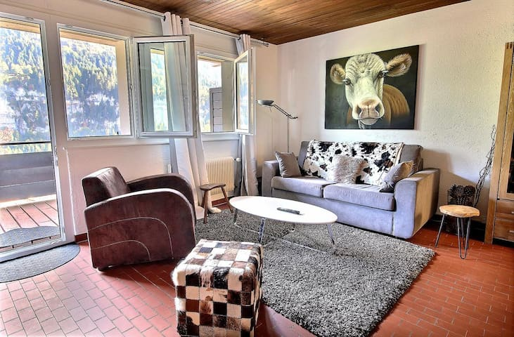 Appartment decorated with taste at 600 meters from the cableway, 1 chambre, wifi and balcony (4-W)