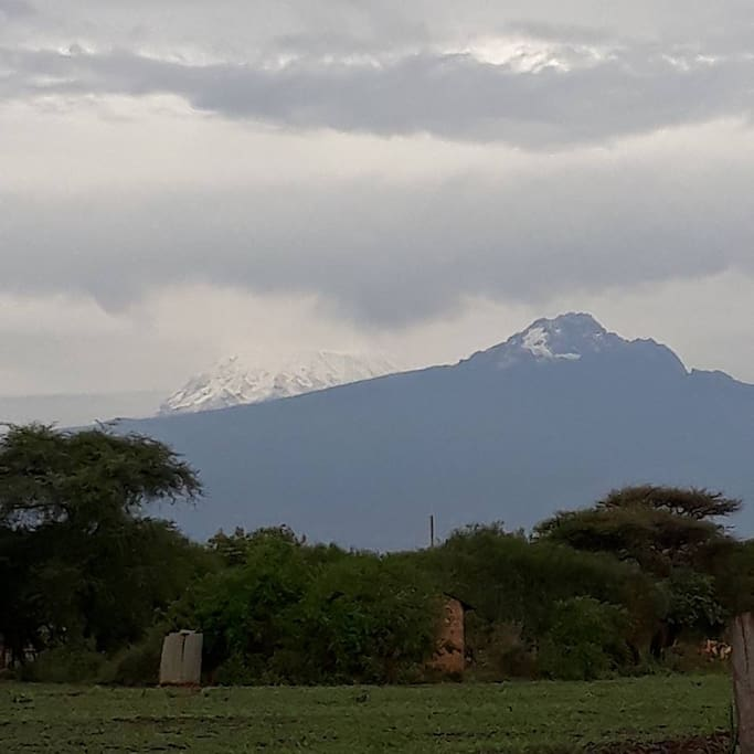 View of Mt. Kilimanjaro during a wet season