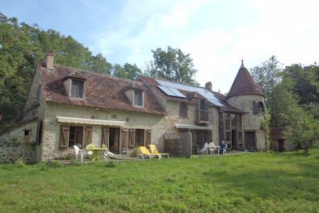 Chambre turquoise dans ancien moulin à eau - Lignac
