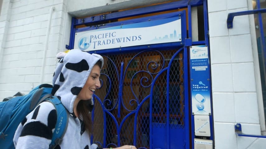 From SFO Airport, we are a 35 minute train ride on BART, and an 8 minute walk from the Montgomery BART station. When you see this blue gate and sign, you'll know you came to the right place! (Silly person in cow onesie not included)