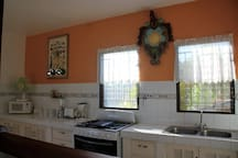Wide cooking areas with mountain view and  convenient pass through to terrace area