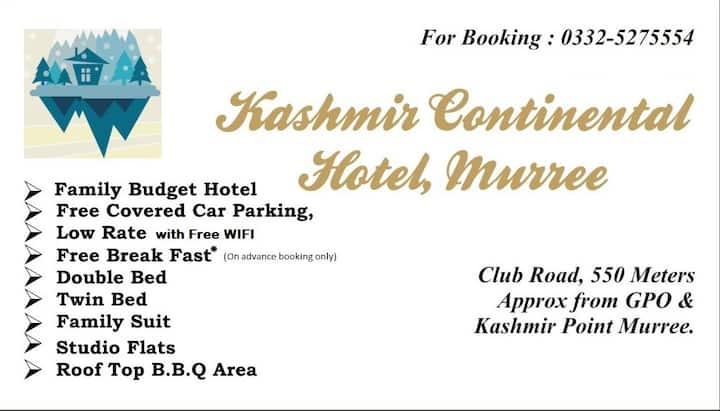 KASHMIR CONTINENTAL HOTEL & studio flats MURREE