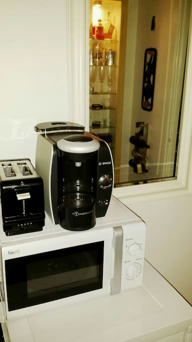 Microwave, coffee machine and toster