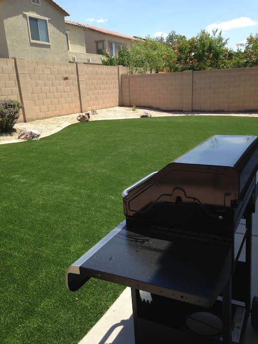 Backyard with gas BBQ
