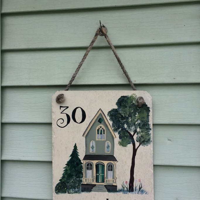 This address plaque was lovingly created by a family member.