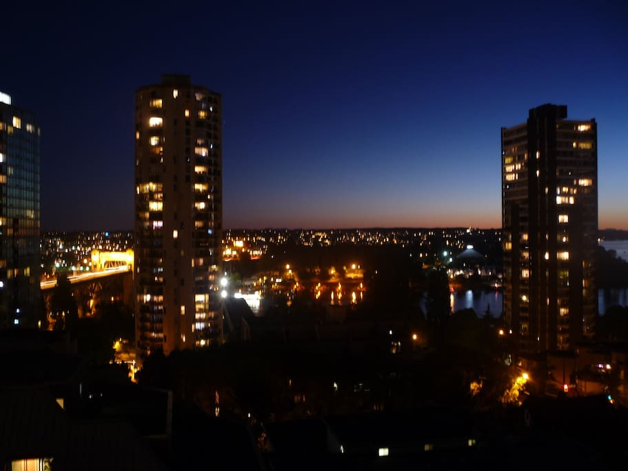Sunset view of Burrard Bridge from futon bed
