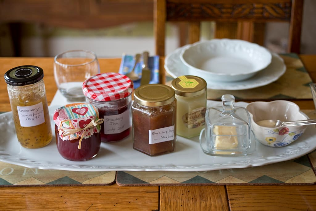 home made jams and local honey