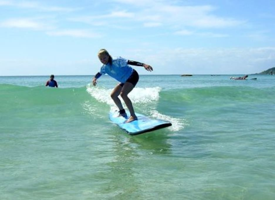 Surf schools operate every week on the beach. Woolgoolga Beach is well known as a safe patrolled swimming and surfing beach with wide hard flat sand ideal for beach walks