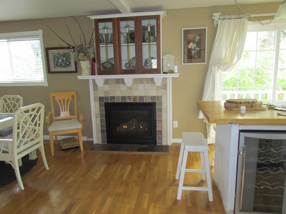 Kitchen area with gas fireplace