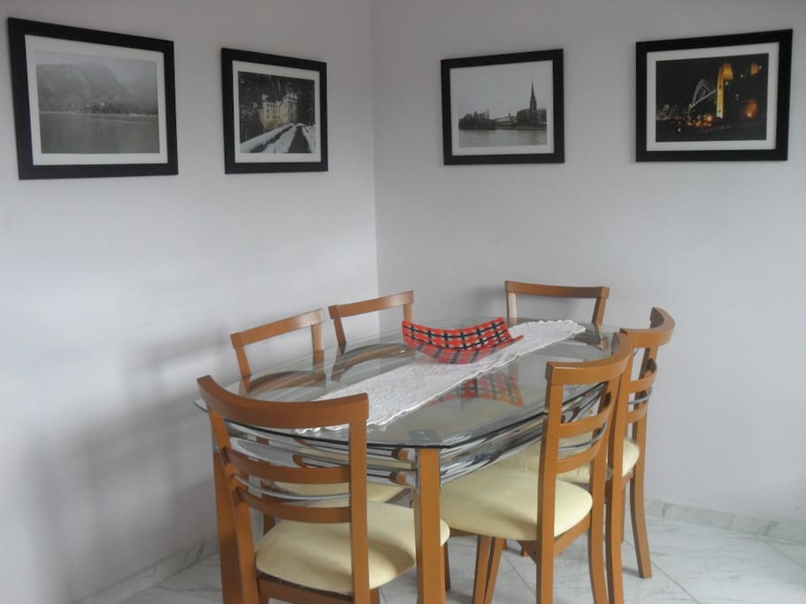 Dinning room. Perhaps you will see your country displayed on the wall