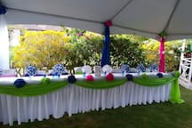 Head Table set up for wedding aa on the lawn