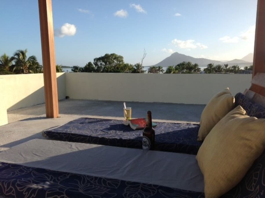 Sunsets and stargazing on our shared access roof terrace. Cool off under the outdoor shower.
