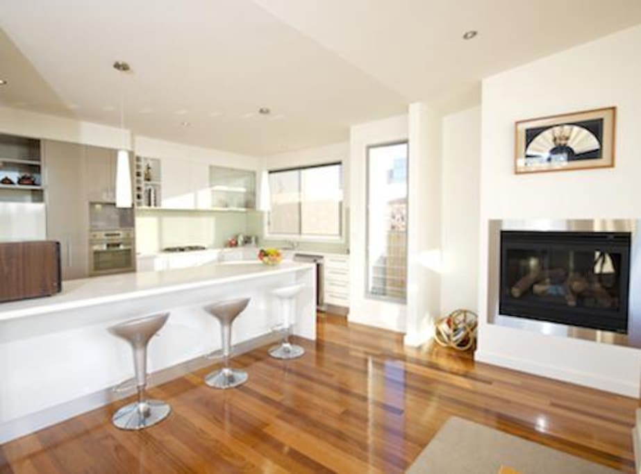 Kitchen onto open plan living / dining
