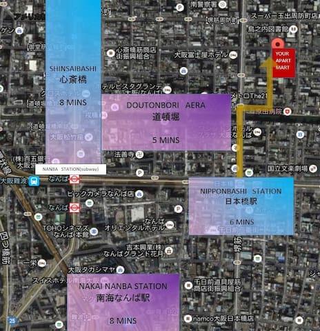 Near Dotonburi ,Shisaibashi ,best Location靠近道頓堀、心斎橋最好位置