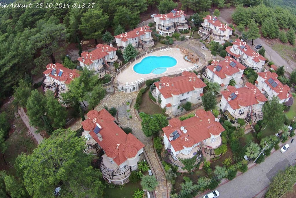 Aerial view of the Belos site. Villa Myra is at the front not by the pool so very private