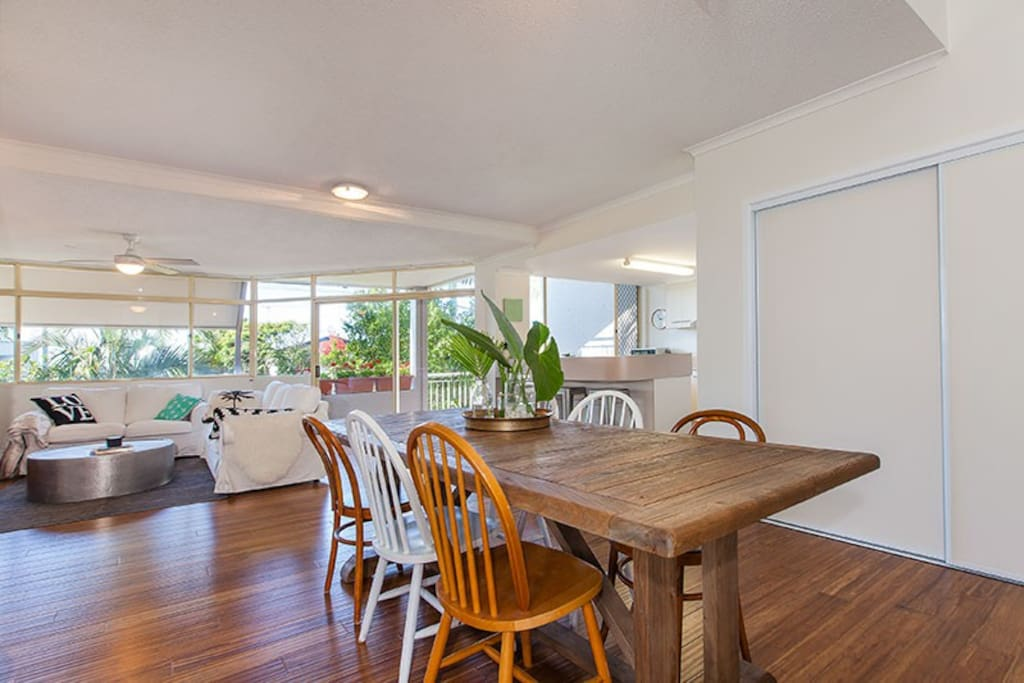 We have a large open plan kitchen with a great dining table for dinner parties (seats 6).