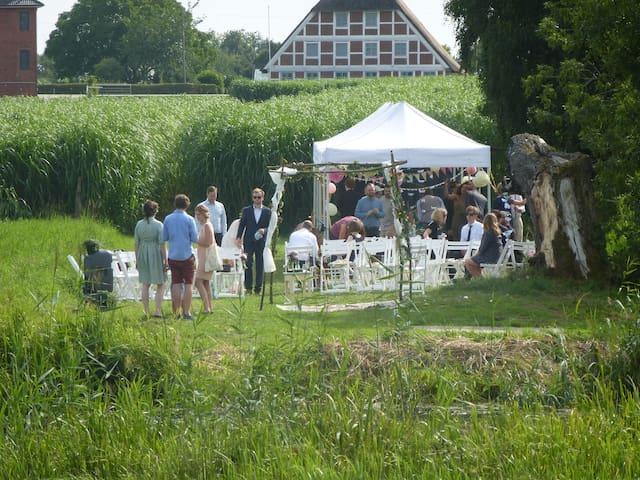 Hochzeitsfeier auf der Elbwiese, im hintergrund das Bauernhau