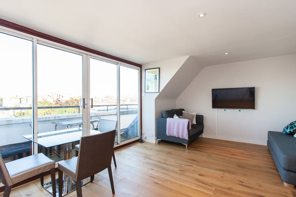 Living Room with roof terrace access, sofa bed, TV with freeview channels and Wifi.