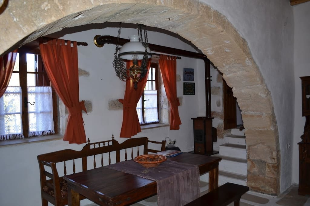 Indoor dining room, with original stone arches