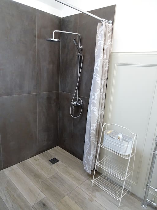Brand new powerful shower, with hot water from our biomass boiler