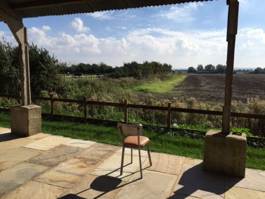 The view of open countryside from the back under our communal dutch barn