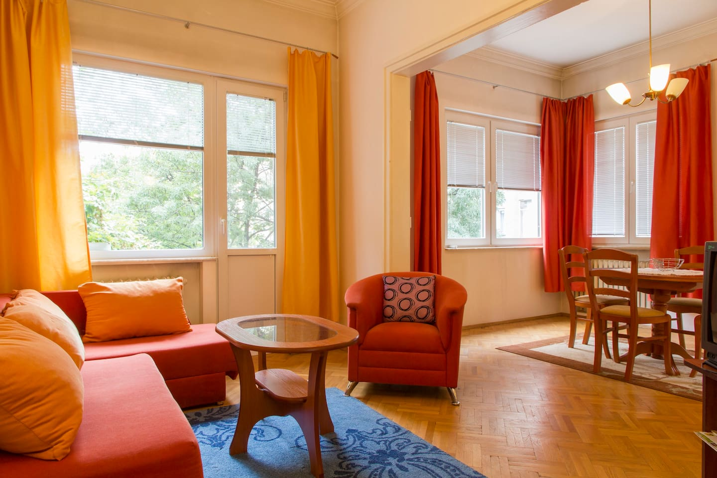 Living room -AC, with access to the balcony, comfortable sofa-bed for a person, TV