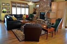 Main Living Area with Rock Fireplace and Gas Logs