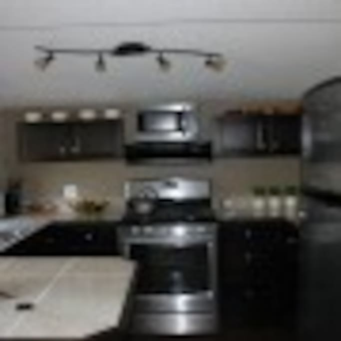 Cabin kitchen has propane/gas stove, fridge with freezer and counter seating