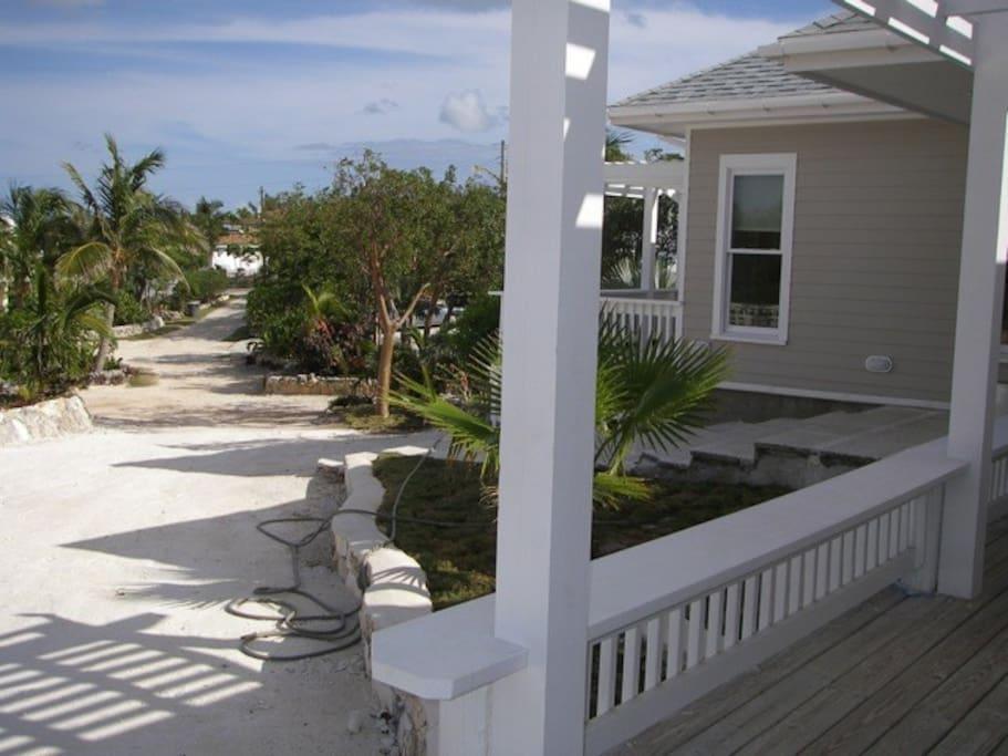 Tops House driveway, exterior and verandas