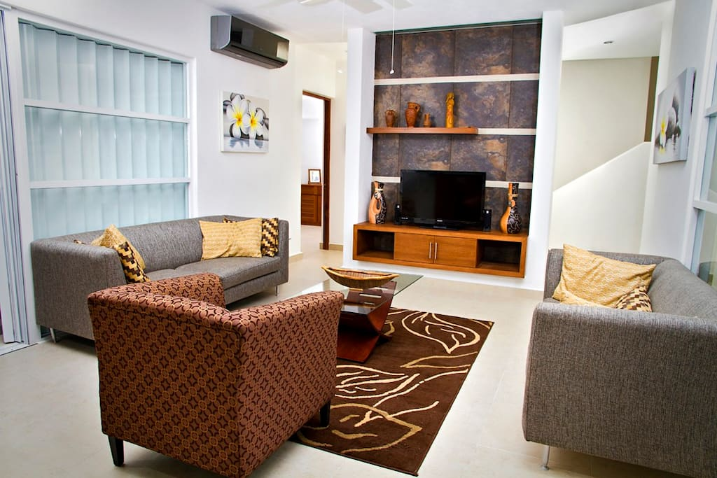 The living space in Villa Mandalay is perfect for entertaining or relaxing in Cozumel