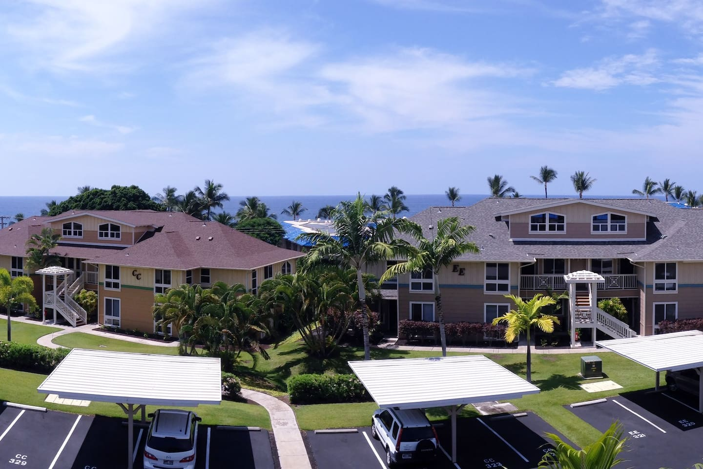 See, feel and smell the ocean from the lanai and most rooms in the apartment.  This space is on the (top) second floor and boasts lovely views of both the ocean and the mountain.