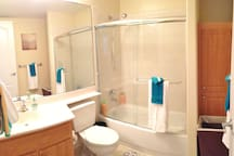 The second, or guest bathroom has a glass and tile shower and bathtub.