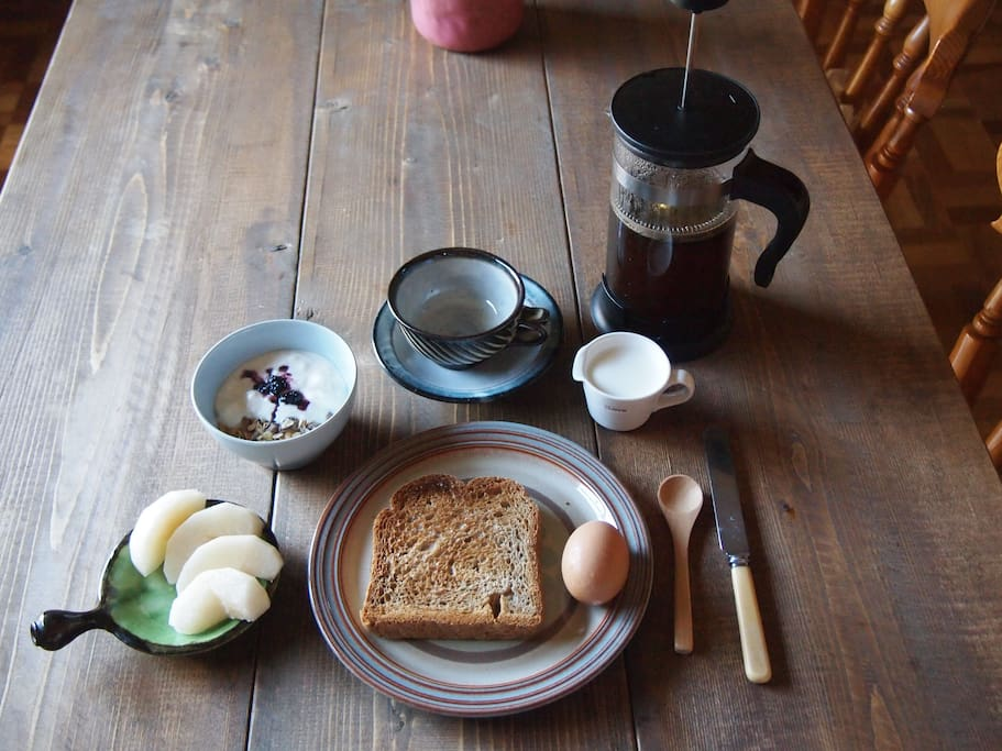 Breakfast is included in the price. You can have tea or coffee, home made bread, an egg, fresh fruit, yoghurt with jam and cereal.