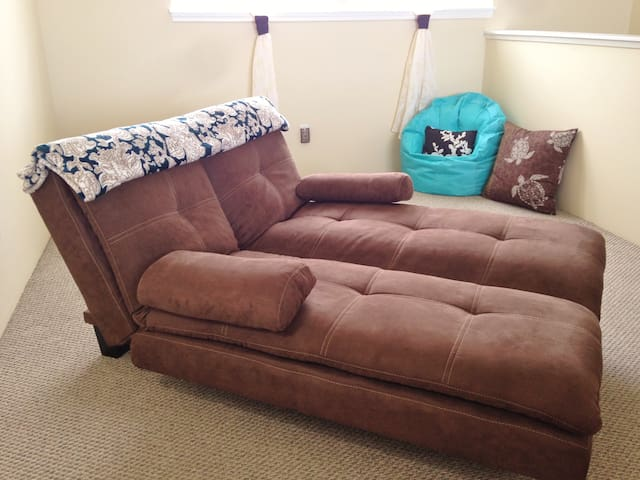 The loft couch easily transforms into a dual-lounge for your comfort.