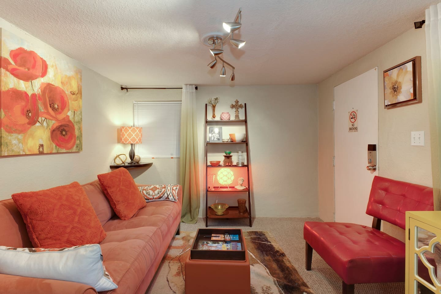 Brightly colored palette in the living room with plenty of charm.