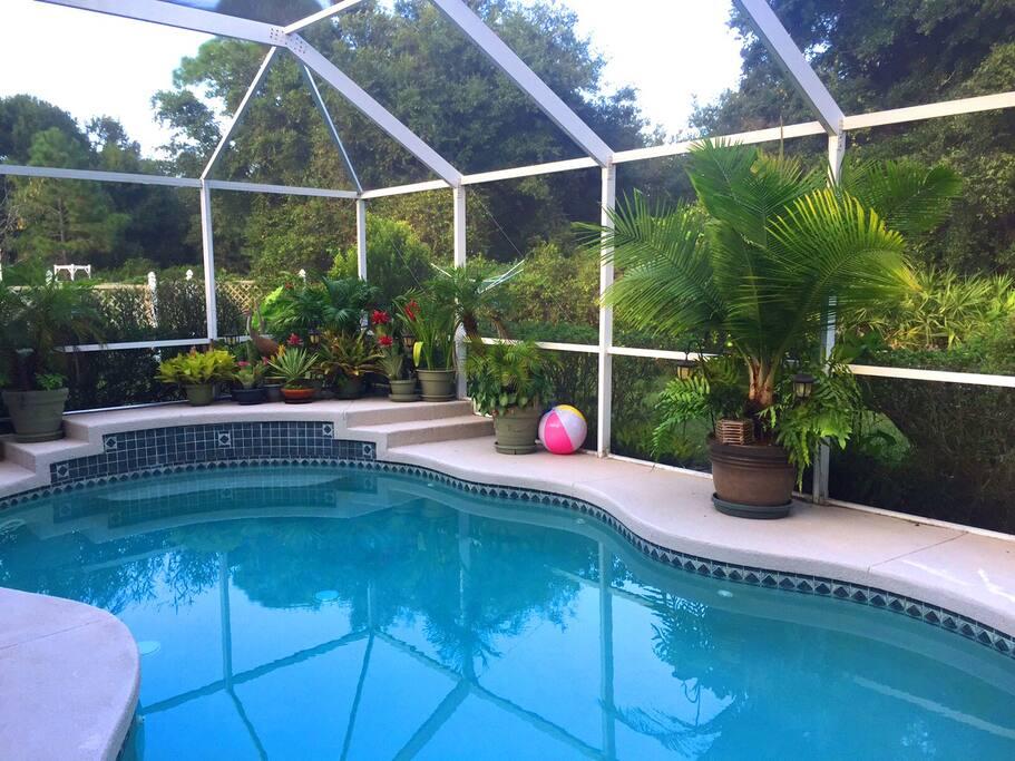 A solar heated pool.