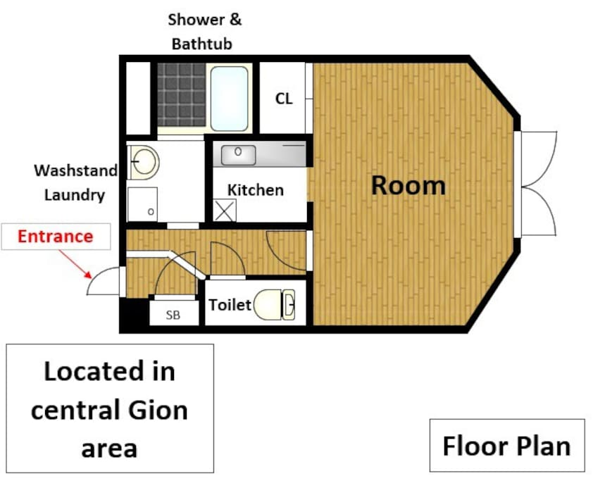 The apartment Layout. Its an studio apartment with a tatami on one side of the room.
