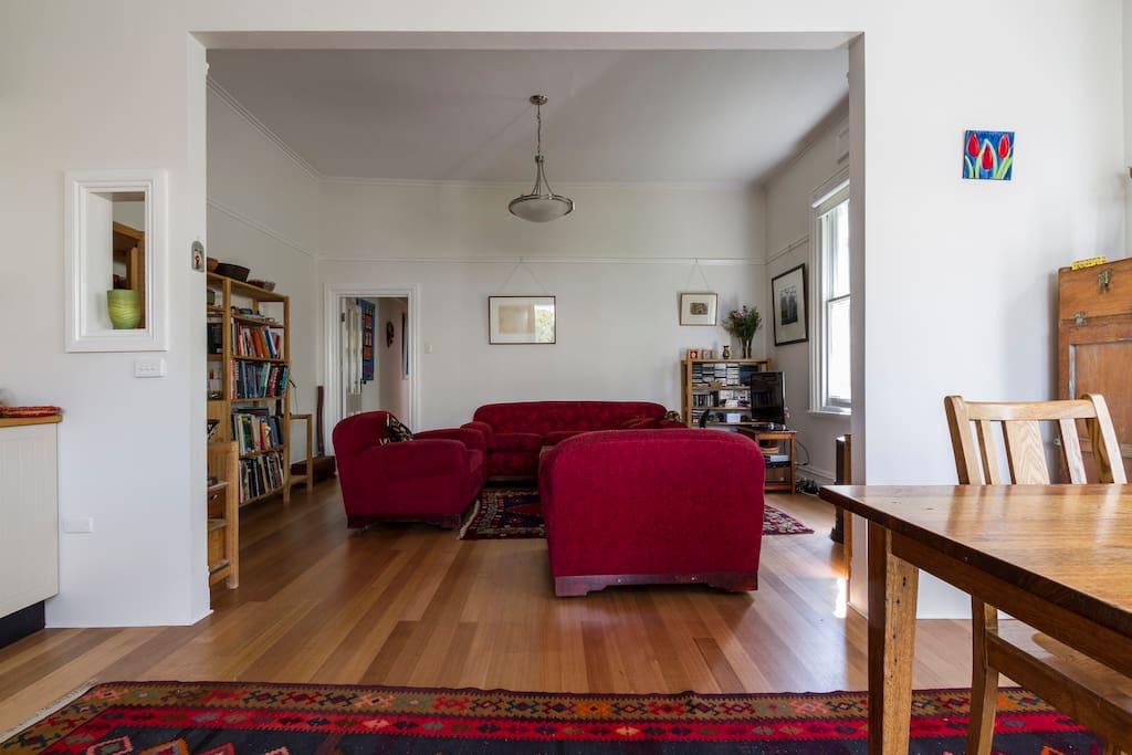 Light, open plan living area