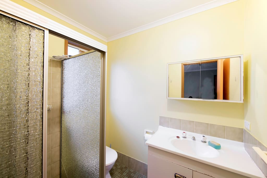 The ensuite with towel and soap.