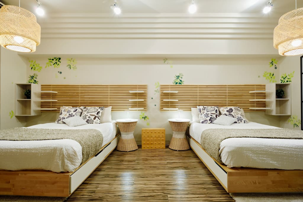 beds with pillows, duvets and linen