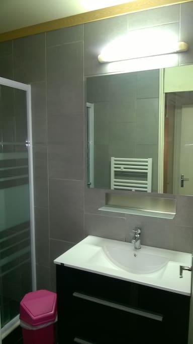 Salle de bain récemment refaite à neuf