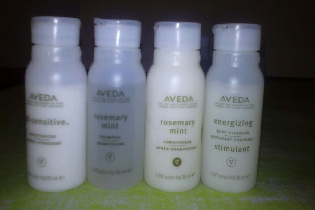 High quality products Aveda shampoo conditioner cleanser and moisturiser.