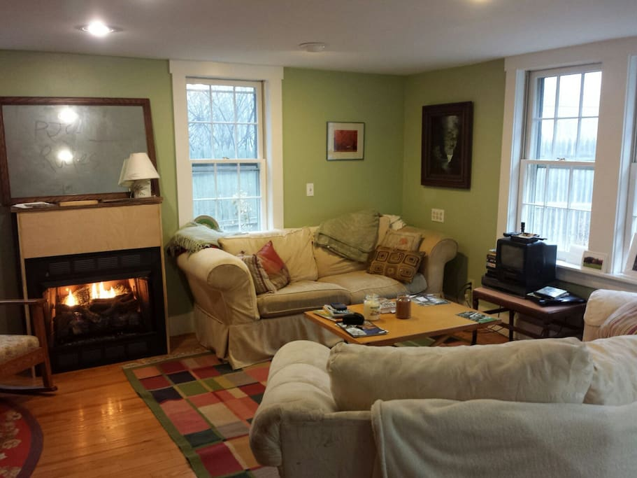 "Cozy living room with ""easy-on"" gas fireplace. Sorry, no cable (but a DVD player and plenty of DVDs :)."