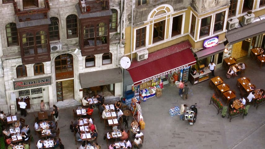 Cafe culture below Galata Tower