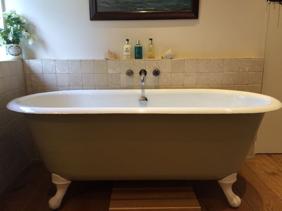 Antique roll-top bath, with the Yellow Room