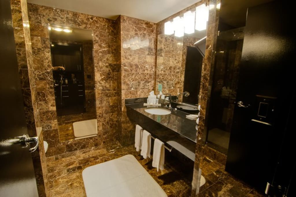 Spa like bath with extrensive marble, huge shower and even flat screen TV