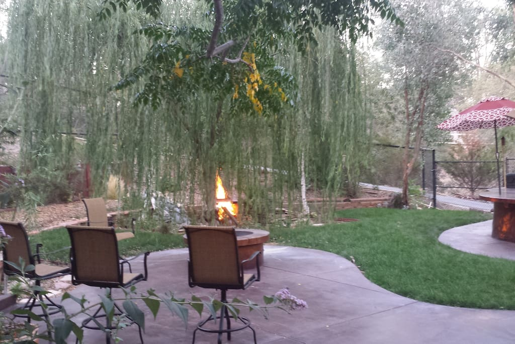 Alternate view of both fire pits in back yard.